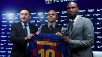 Barcelona memperkenalkan Martin Braithwaite yang diboyong dari Leganes (Josep Lago/AFP)