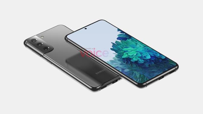 Gambar render Galaxy S21. (Doc: Voice/ OnLeaks)