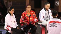 Menkeu Sri Mulyani (kiri), Menteri KKP Susi Pudjiastuti (tengah) dan Kepala Badan Koordinasi Penanaman Modal Thomas Lembong saat memberikan mentoring kepada peserta Gerakan Nasional 1000 Startup Digital di Senayan, Jakara, Minggu (18/8/2019). (Liputan6.com/Angga Yuniar)