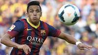 Alexis Sanchez bermain untuk Barcelona pada 2011 hingga 2014 dan tampil sebanyak 88 kali dengan mencetak 39 gol. (AFP/Lluis Gene)