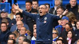 5. Maurizio Sarri. Manajer asal Italia ini hijrah ke Chelsea setelah meninggalkan Napoli pada awal musim 2018-2019. Ia dipecat petinggi Chelsea setelah berkiprah selama 351 hari, dengan raihan 1 trofi Liga Europa. (AFP/Ben Stansall)