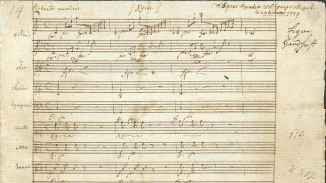 Ilustrasi halaman pertama manuskrip Coronation Mass K317 karya Mozart. (Sumber Wikimedia Commons)