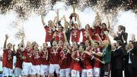 AC Milan berhasil menjuarai Serie A 2010-2011. Bagi Milan, titel juara tersebut adalah gelar ke-18 di liga. (AFP/Olivier Morin)