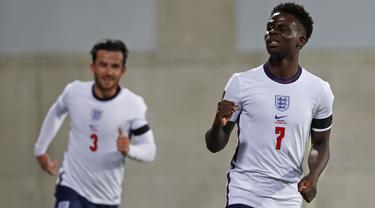 Inggris sukses berpesta gol ke gawang Andorra pada Matchday lanjutan Kualifikasi Piala Dunia 2022. Hal tersebut semakin mengokohkan The Three Lions di posisi puncak klasemen sementara Grup I Kualifikasi Piala Dunia 2022. (AP/Joan Monfort)