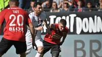 Lionel Messi tak mampu mencetak gol saat Paris Saint-Germain bersua Rennes pada laga pekan kesembilan Ligue 1 di Roazhon Park, Minggu (3/10/2021) malam WIB. Alhasil, PSG takluk 0-2 dari Rennes. (AFP/Loic Venance)