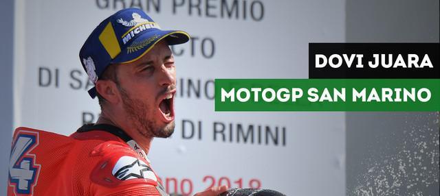 Pembalap Ducati, Andrea Dovizioso menjadi juara pada balapan MotoGP San Marino di Sirkuit Misano, Minggu (9/9/2018). Marc Marquez dan Valentino Rossi menempati posisi kedua dan ketujuh.