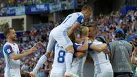 Selebrasi gol yang dicetak striker Timnas Islandia, Alfred Finnbogason ke gawang Timnas Argentina pada laga perdana Grup D Piala Dunia 2018. (Juan Mabromata / AFP)