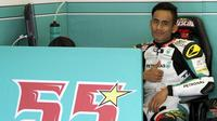 Pebalap Petronas Raceline Malaysia, Hafizh Syahrin, dinilai masih terlalu dini untuk bisa tampil di MotoGP 2018. (EPA/Roman Dios)