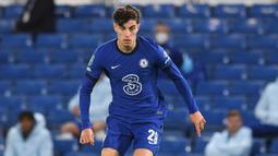 1. Kai Havertz (80 juta euro) - Pemain berusia 21 tahun ini menjadi yang termahal pada bursa transfer Liga Inggris di musim panas ini. Harvertz dilabuhkan Chelsea dari Bayer Leverkusen dengan tranfser mencapai 80 juta euro. (AFP/Neil Hall/pool)