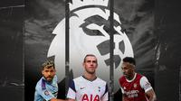 Sergio Aguero, Gareth Bale dan Pierre-Emerick Aubameyang. (Bola.com/Dody Iryawan)