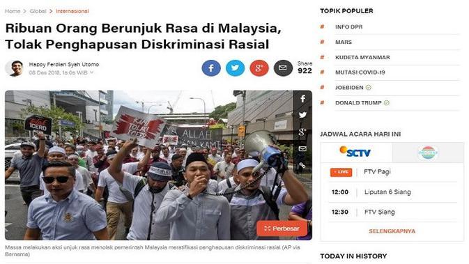 Gambar Tangkapan Layar Artikel dari Situs Liputan6.com