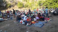 Masyarakat terdampak gempa Lombok 7 SR yang mengungsi. (dok BNPB)