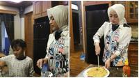 Nathalie Holscher dapat hadiah pelukan dari anak sambungnya usai masak. (Sumber: YouTube/SULE FAMILY)