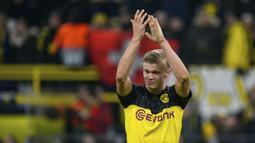 2. Erling Haaland (Borussia Dortmund) - Ketajaman penyerang berusia 20 tahun ini bersama Borussia Dortmund tidak diragukan lagi. Erling Haaland tercatat memiliki rekor 10 gol Liga Champions tercepat. (AFP/Ina Fassbender )