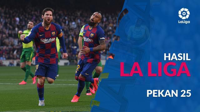 Berita video hasil La Liga 2019-2020 pekan ke-25. Barcelona menang besar atas Eibar, Sabtu (22/2/2020) di Camp Nou, Barcelona.