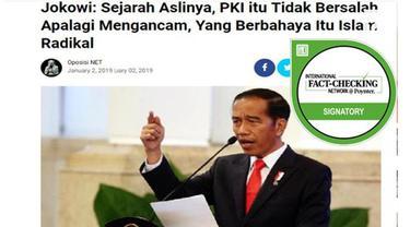 Ragam berita dengan cepat menyebar di media sosial. Salah satunya soal pidato Presiden Joko Widodo atau Jokowi yang diklaim menyebut soal PKI.