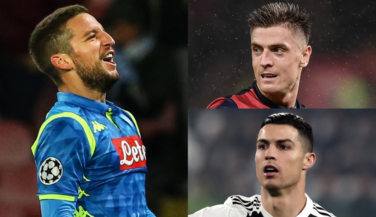 Raihan satu gol ke gawang SPAL membuat bintang muda Genoa, Krzysztof Piatek kembali memimpin daftar top scorer Serie A. hal tersebut membuat Ronaldo kembali turun ke peringkat dua. (Kolase Foto AFP)