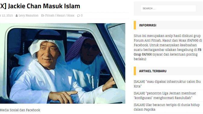 Cek Fakta - hoaks aktor laga Jackie Chan masuk Islam (turnbackhoax.id)