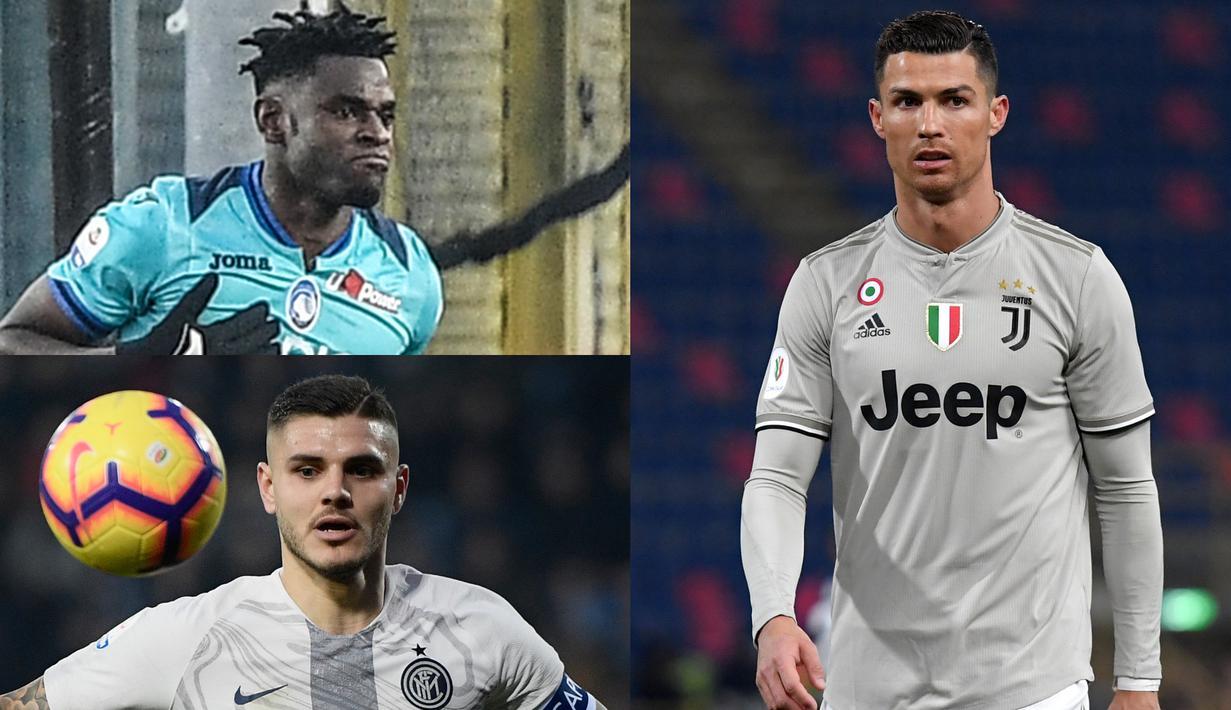 Fabio Quagliarella mulai menyamai catatan Ronaldo di daftar top scorer Serie A Liga Italia. Saat ini Quagliarella berada di peringkat kedua dengan raihan 14 gol dan 5 assist, sama dengan Ronaldo di puncak (Kolase Foto AFP)