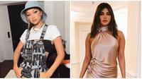 Selebriti sebelum dan setelah pakai makeup (Sumber: Instagram/gigihadid/priyankachopra)