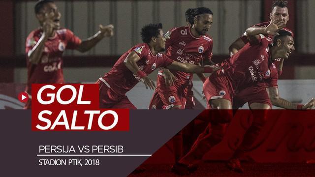 Berita video momen gol salto bek Persija Jakarta, Jaimerson da Silva, ke gawang Persib Bandung saat bertanding di Stadion PTIK pada 30 Juni 2018.