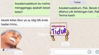6 Chat Iseng Dosen Kirim Stiker WA ke Mahasiswa Ini Kocak (sumber: Instagram.com/awreceh.id dan Instagram.com/receh.id)