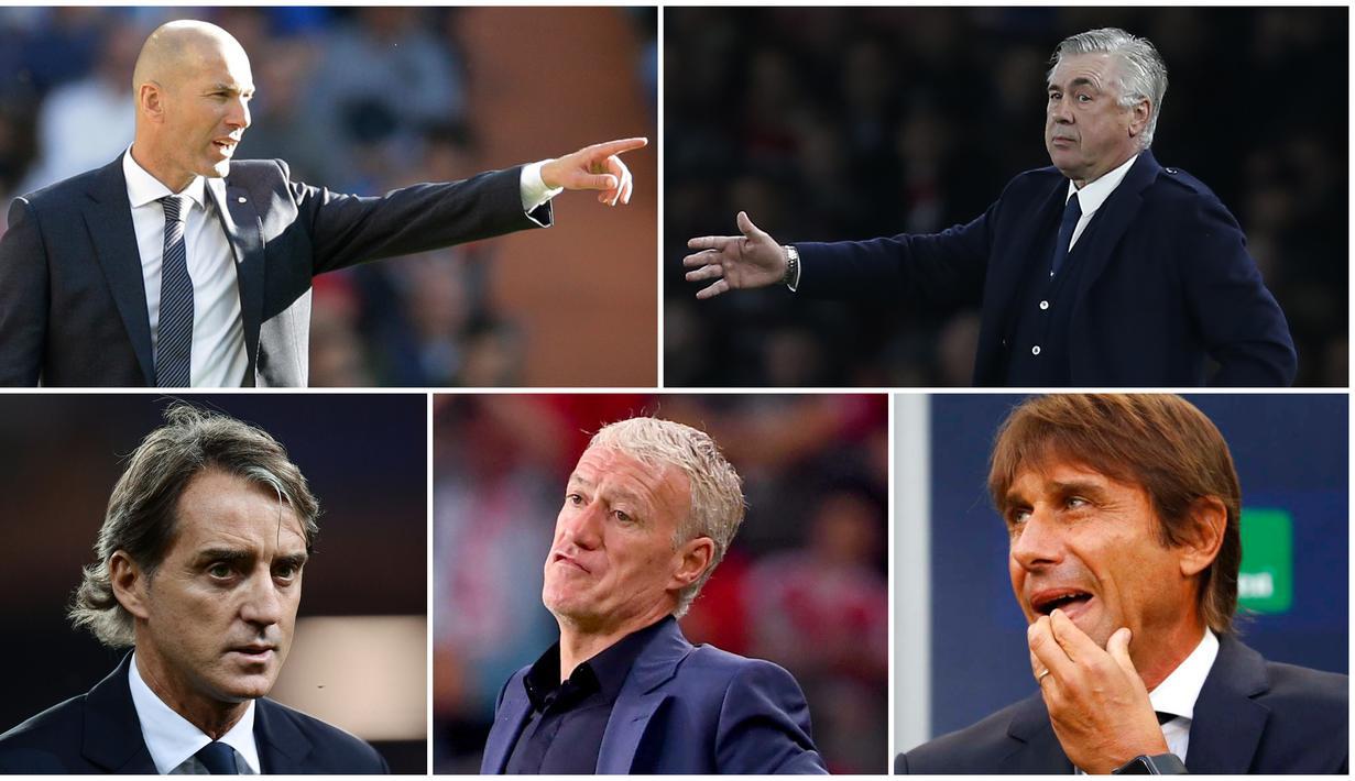 Berikut ini para mantan pemain Serie A yang sukses sebagai Pelatih. Diantaranya Antonio Conte, Zinedine Zidane dan Carlo Ancelotti. (Foto Kolase AP dan AFP)