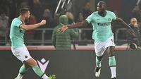 Lukaku merayakan gol kemenangan Inter Milan atas Bologna (AFP)