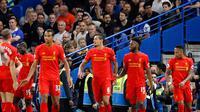 Pemain Liverpool rayakan gol Dejan Lovren ke gawang Chelsea (AP Photo/Frank Augstein)