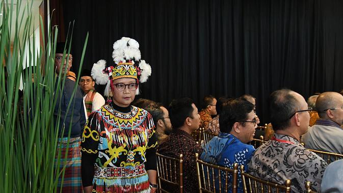 Menteri Luar Negeri Retno Marsudi memasuki ruangan Gedung Nusantara, di mana acara PPTM 2020 dilaksanakan.(Foto: Kemlu RI)