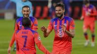 Olivier Giroud berhasil mencetak empat gol kemenangan Chelsea atas Sevilla pada laga kelima Grup E Liga Champions, di Estadio Ramon Sanchez Pizjuan, Kamis (3/12/2020) dini hari WIB. (AP Photo/Angel Fernandez)