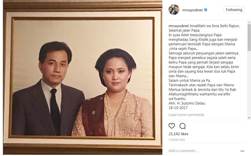 Ayah mertua Ayu Dewi meninggal dunia (Foto: Instagram)