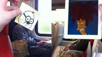 Pria ini buat ilustrasi kartun di kereta karena bosan, hasilnya justru keren banget. (Sumber: Twitter/@OctoberJones)