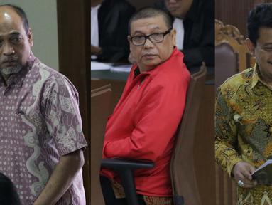 Foto kolase Deputi IV Kemenpora, Mulyana, PPK Kemenpora Adhi Purnomo dan staf Kemenpora Eko Triyanta (kiri ke kanan) saat sidang pledoi di Pengadilan Tipikor, Jakarta, Kamis (29/8/2019). Sebelumnya, JPU KPK menuntut mereka hukuman antara 5 sampai 7 tahun penjara. (Liputan6.com/Helmi Fithriansyah)