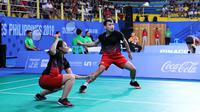 Aksi Rinov Rivaldy/Pitha Haningtyas Mentari pada semifinal SEA Games 2019. (dok. PBSI)