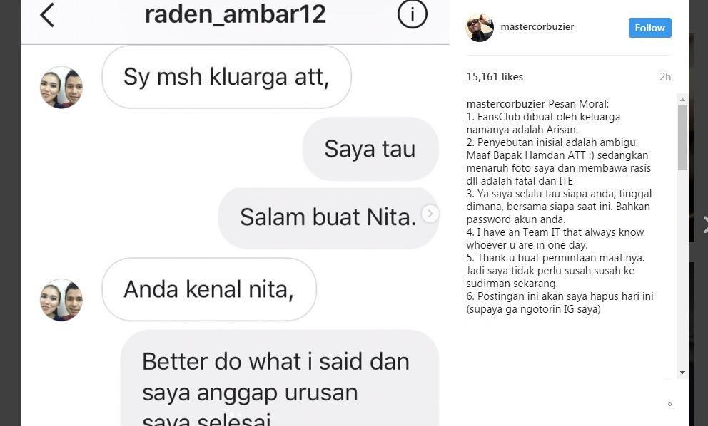 Akun Instagram ini mengaku bagian dari keluarga ATT. [foto: instagram]