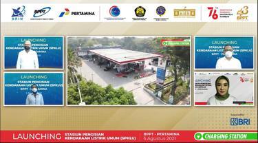 Pertamina dan BPPT Resmikan 2 Stasiun Pengisian Kendaraan Listrik Umum