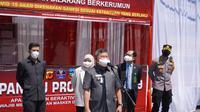 Bupati Garut sekaligus Ketua Satgas Covid-19 Garut Rudy Gunawan meresmikan 9 Kawasan Patuh Prokes (KPP) di kawasan perkotaan dalam Pelaksanaan Pemberlakuan Pembatasan Kegiatan Masyarakat (PPKM) Level 3 saat ini. (Liputan6.com/Jayadi Supriadin)