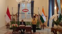 Menteri Luar Negeri India S Jaishankar dan Menteri Luar Negeri RI Retno Marsudi di Kemlu RI, Jakarta, Kamis 5 September 2019 (Rizki Akbar Hasan / Liputan6.com)