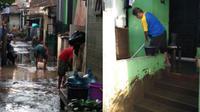 Banjir di Cipinang Melayu Jakarta Timur Surut. Warga terlihat sedang membersihkan rumah pasca tergenang air. (@BPBDJakarta)