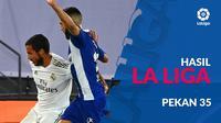 Berita motion grafis hasil La Liga 2019-2020 pekan ke-35, Real Madrid masih pimpin klasemen sementara.
