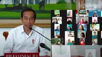 Presiden Jokowi bertemu dengan siswa SDN Sudimara, Banyumas, Jawa Tengah dalam rangka peringatan Hari Anak Nasional 2021. (Istimewa)