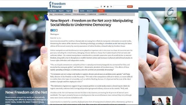 "Laporan ""Freedom on the Net"" 2017 yang baru diterbitkan Freedom House menyebutkan di Indonesia ada seratus juta lebih pengguna internet."