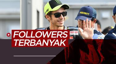 Berita motion grafis Valentino Rossi dan 9 pebalap MotoGP dengan followers Instagram terbanyak lainnya.