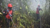 Petugas pemadam kebakaran menyemprotkan air untuk memadamkan kebakaran di Kampar, provinsi Riau pada 17 September 2019. Kebakaran hutan dan lahan (karhutla) yang masih terjadi membuat sejumlah wilayah di Provinsi Riau terpapar kabut asap. (ADEK BERRY / AFP)