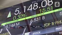 Layar informasi pergerakan harga saham di Gedung BEI, Jakarta, Rabu (14/10/2020). Pada pembukaan perdagangan pukul 09.00 WIB, IHSG masih naik, namun tak lama kemudian, IHSG melemah 2,3 poin atau 0,05 persen ke level 5.130, 18. (Liputan6.com/Angga Yuniar)