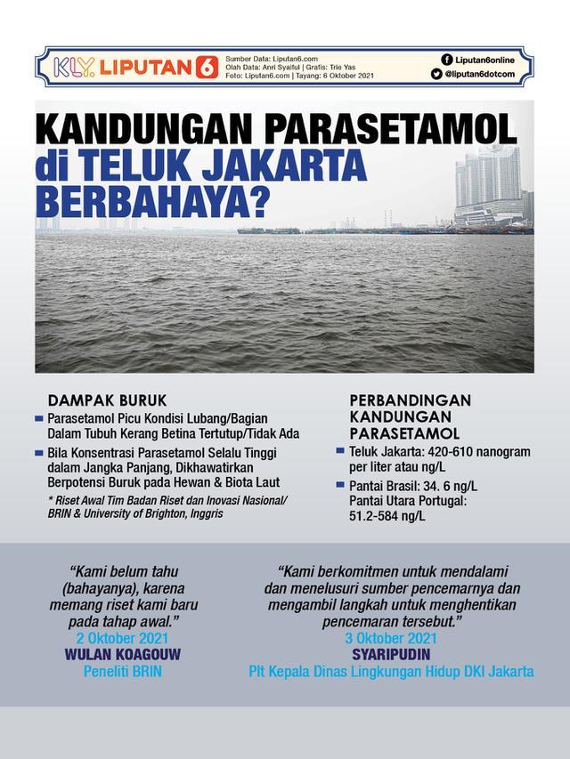 Infografis Kandungan Parasetamol di Teluk Jakarta, Berbahaya? (Liputan6.com/Trieyasni)