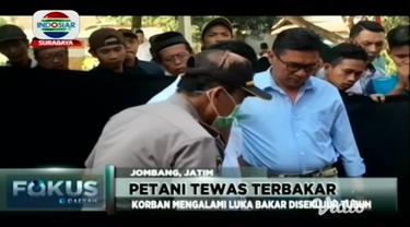 Seorang petani di Jombang ditemukan tewas terbakar di kebun tebu Desa Keras, Kecamatan Diwek, Jombang.