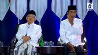 Pasangan Jokowi-Ma'ruf Amin saat Debat Kelima Pilpres 2019. (Liputan6.com)
