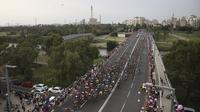 101st Giro d'Italia dimulai di Yerusalem, wilayah yang disengketakan Palestina dan Israel.  (AP Photo/Oded Balilty)